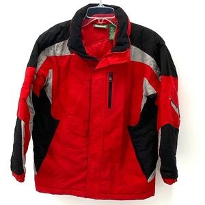 LLbean BOY'S RED/BLK/GRAY INSULATED WINTER COAT L